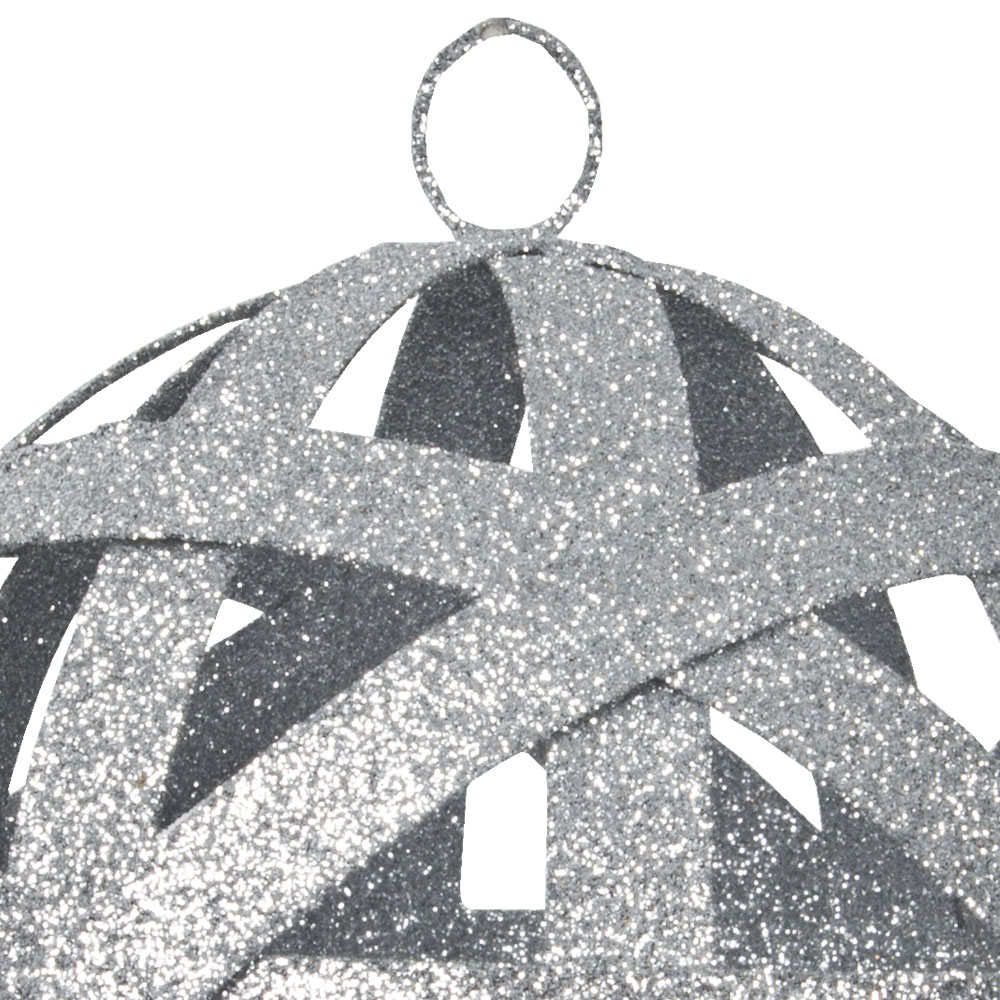 Silver Interlaced Metal Bauble - 100mm