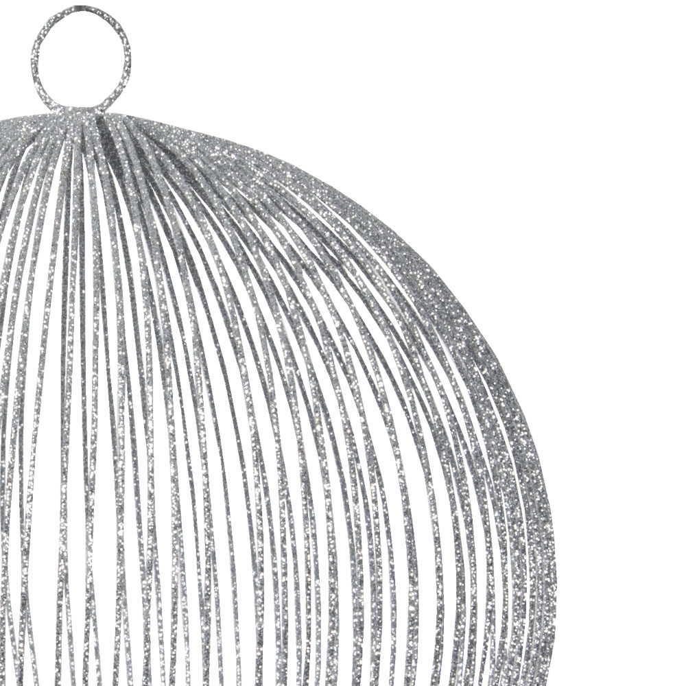Silver Delicate Metal Mesh Bauble With Glitter Detail - 150mm