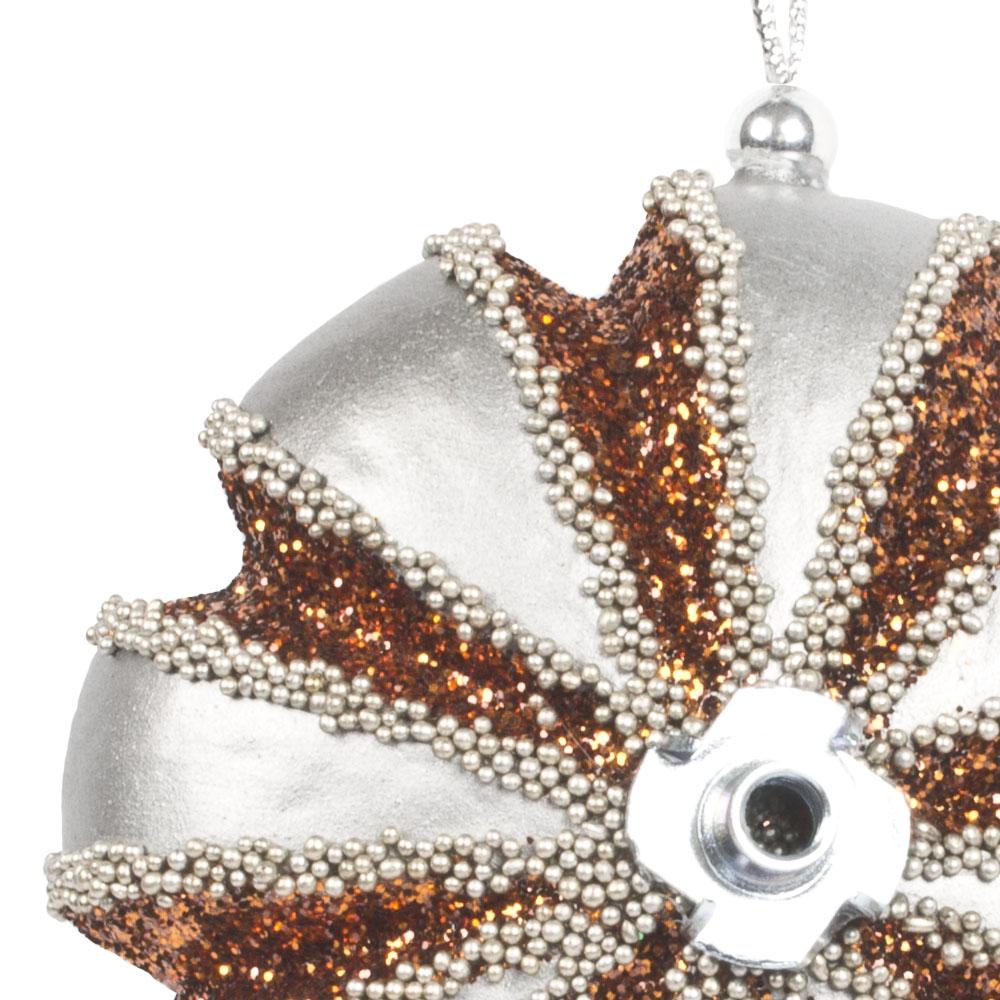 Pewter, Copper & Platinum Segmented Disc Hanging Decoration - 100mm