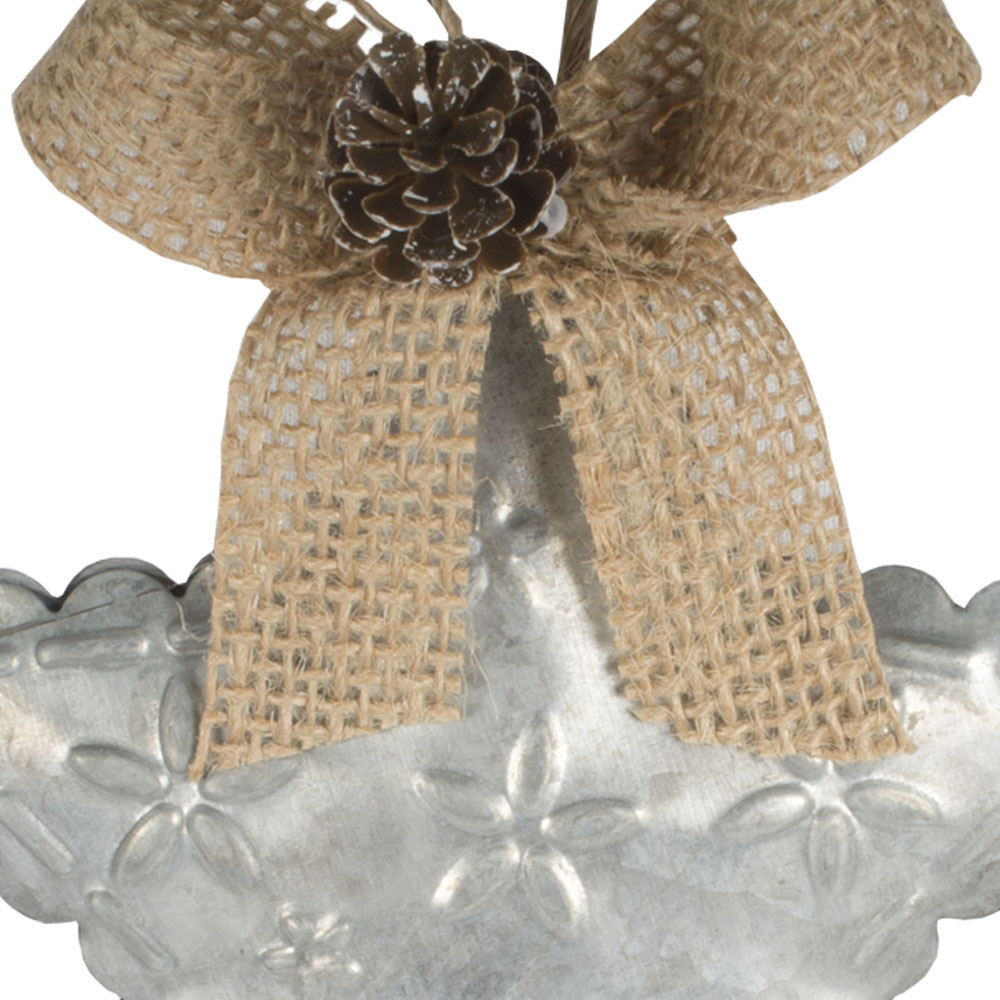 Metal Star Hanging Decoration With Flower Design, Jute Bow & Pinecone - 11cm