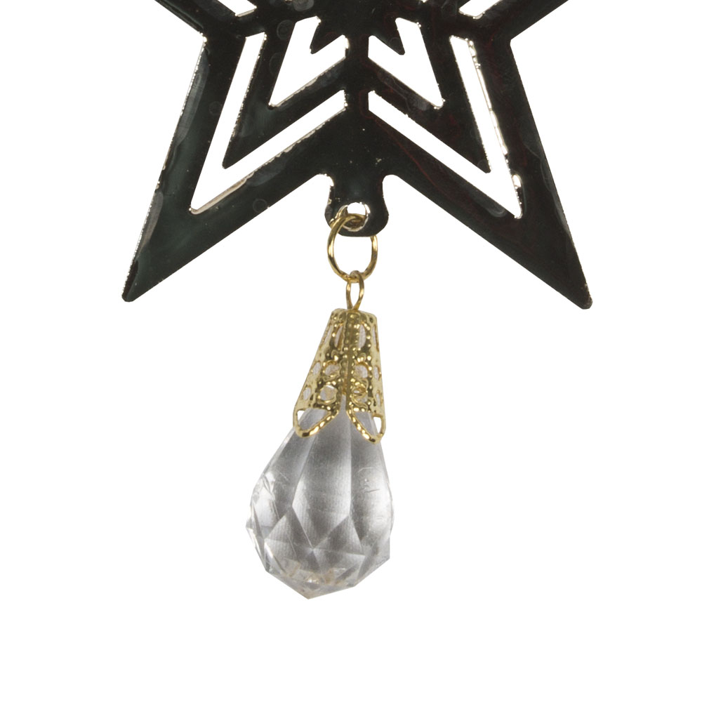 Gold Metal Concentric Star Hanging Decoration With Acrylic Bead Dropper - 11cm