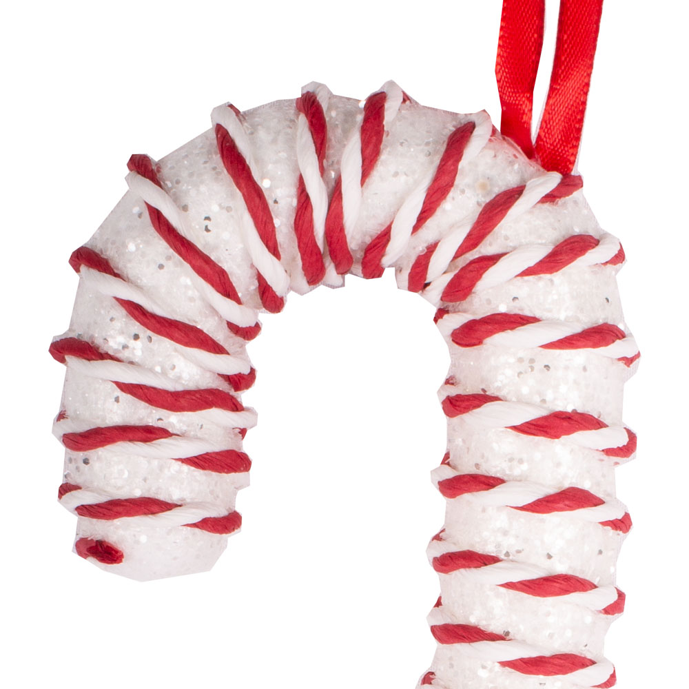 White & Red Candy Striped Hanging Decoration - 20cm Cane