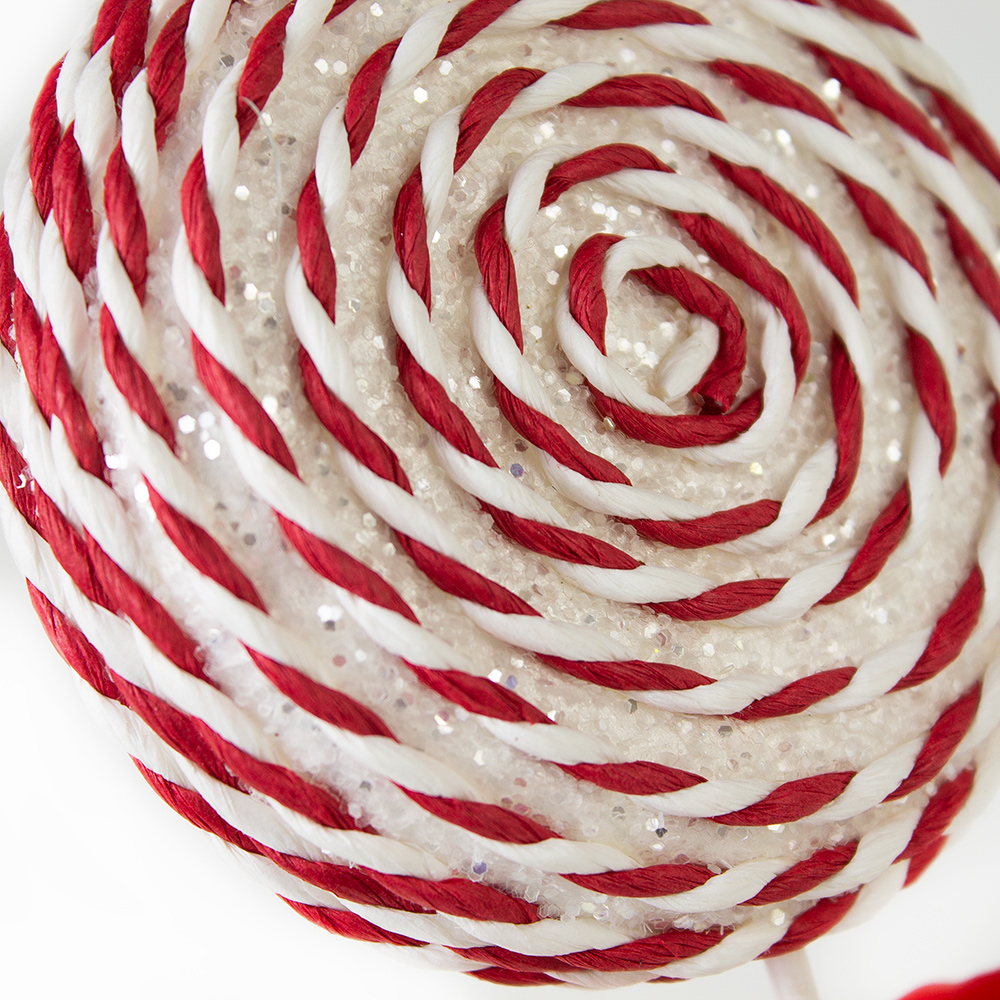 White & Red Candy Striped Hanging Decoration - 28cm Lollipop