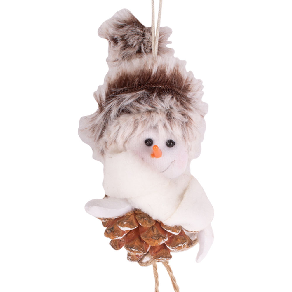 Fabric & Pinecone Snowman Hanging Decoration - 11cm