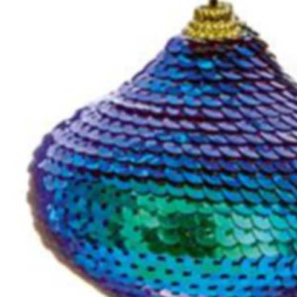 Blue & Green Sequin Onion Hanging Decoration