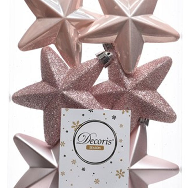 Pack Of 6 x 75mm Mixed Finish Shatterproof Star Hanging Decorations - Blush Pink