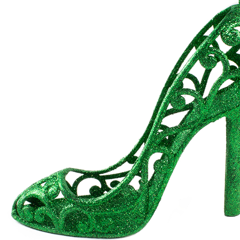 Holly Green Glitter Shoe Hanging Decoration - 16cm X 14cm