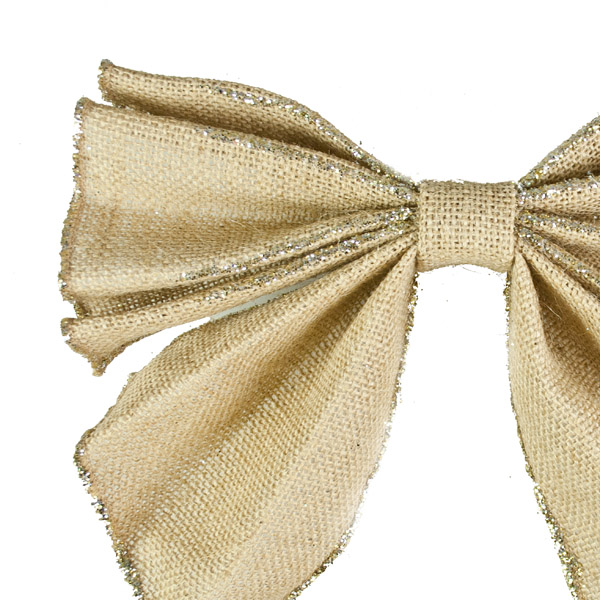 Gold Large Bow on Clip - 25cm