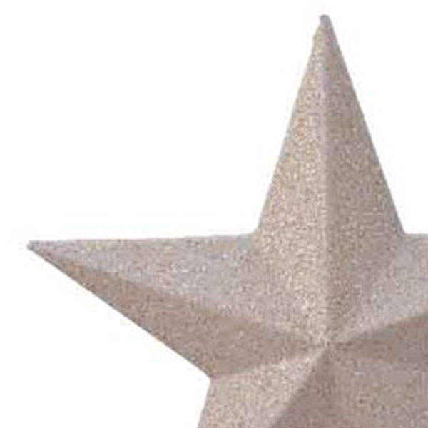 Ivory Shatterproof Tree Top Glitter Star - 19cm
