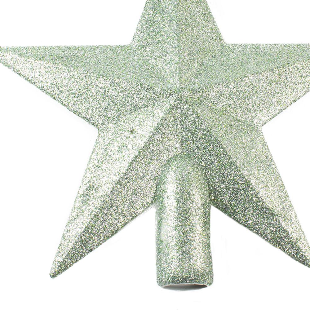 Sage Green Shatterproof Tree Top Glitter Star - 19cm