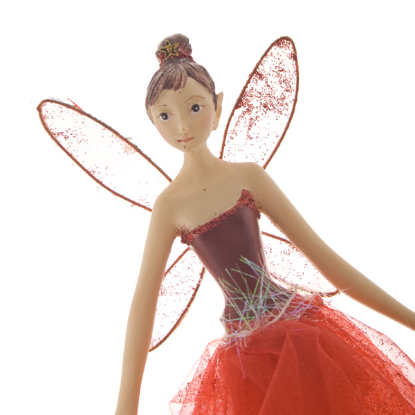 Gisela Graham Sheer Red Tree Top Fairy - 28cm (024-07477-RD)