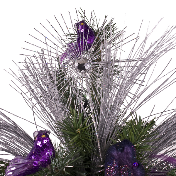 Gisela Graham Silver Glitter Jewel Starburst Tree Topper - 35cm
