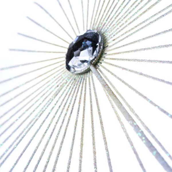 Gisela Graham White Glitter Jewel Starburst Tree Topper - 35cm