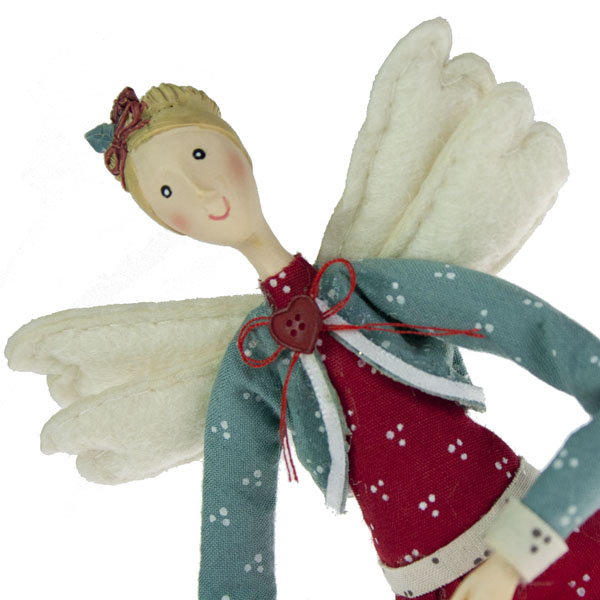 Gisela Graham Christmas Tree Topper: Gisela Graham Red Dress Folk Art Angel Tree Topper