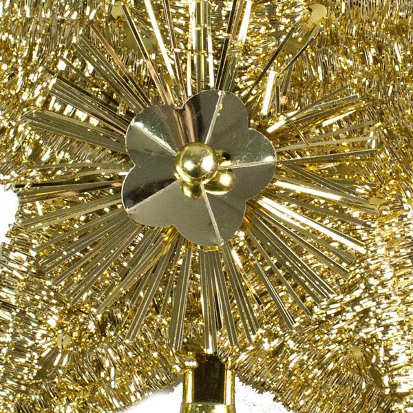 Light Gold Tinsel Tree Top Star - 23cm
