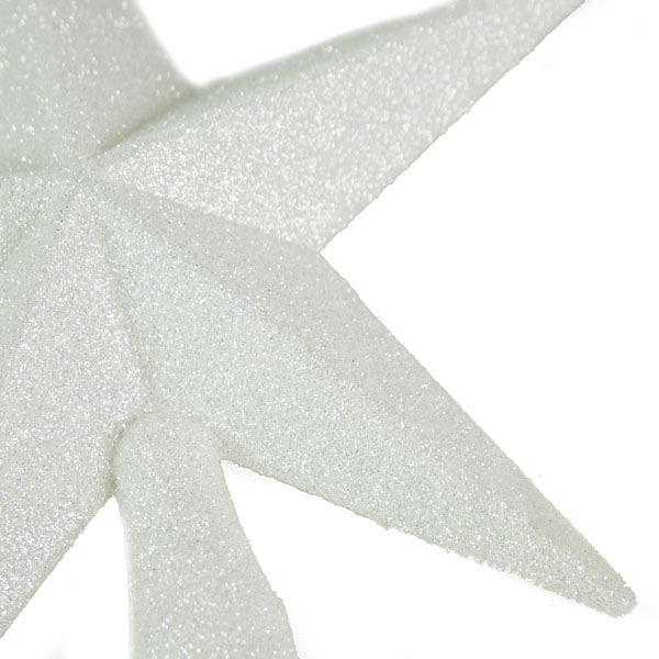 White Glitter Finish Tree Top Star -20cm