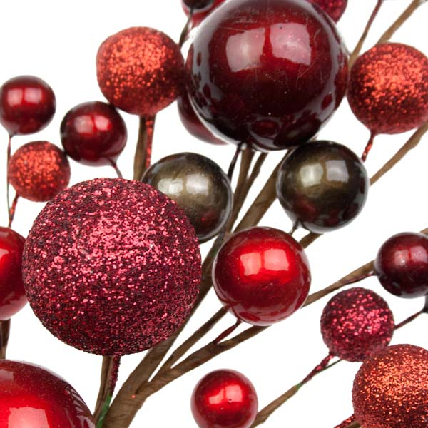 Rich Red & Brown Bauble Berry 40cm Spray