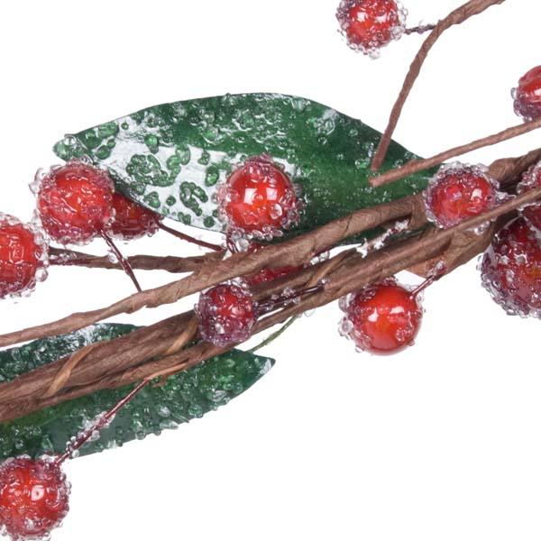 Gisela Graham Crystalised Dark Red Berry And Leaf Garland - 145cm (031-15996)