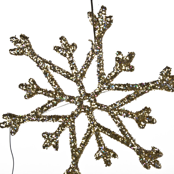 Gold Snowstar And Crystal Garland - 80cm