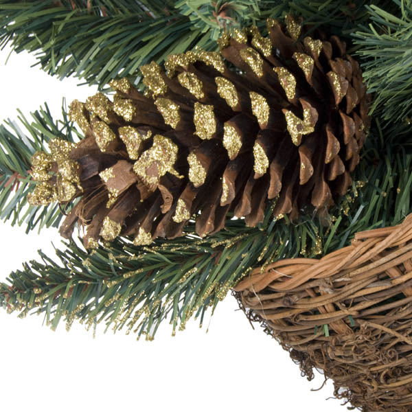 Gold Glitter Cone Decoration Range - 60cm (2ft) Burlap Tree