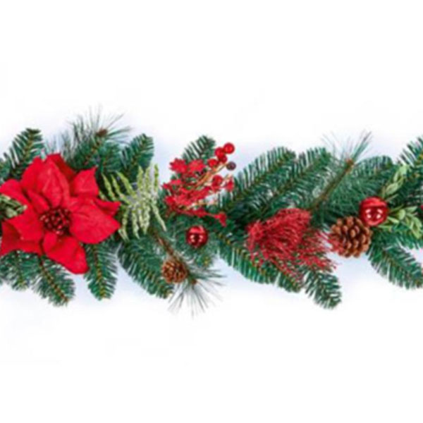 Decorated Red Poinsettia And Berry Range - 1.8m Garland