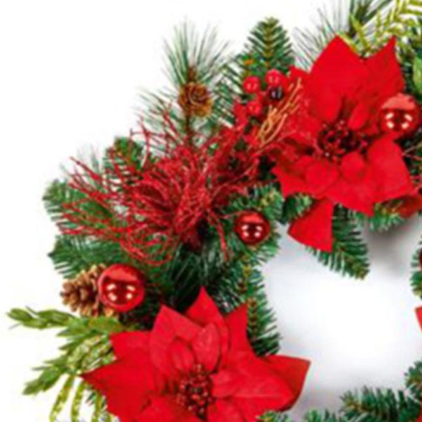 Decorated Red Poinsettia And Berry Range - 50cm Wreath