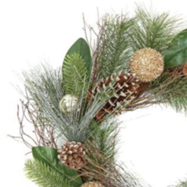 Cone & Bauble Mixed Foliage Range - 50cm Wreath
