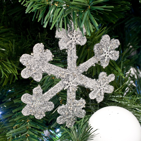 Silver Icy Snowflake Hanging Decoration - 11cm