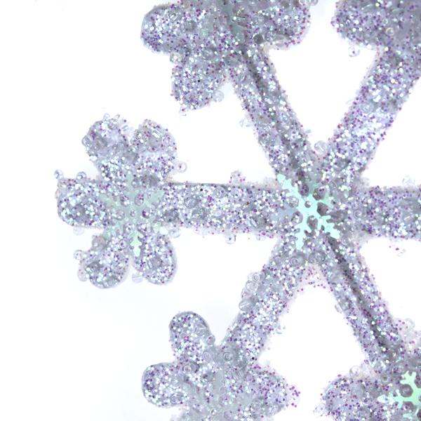 White Iridescent Icy Snowflake Hanging Decoration - 11cm