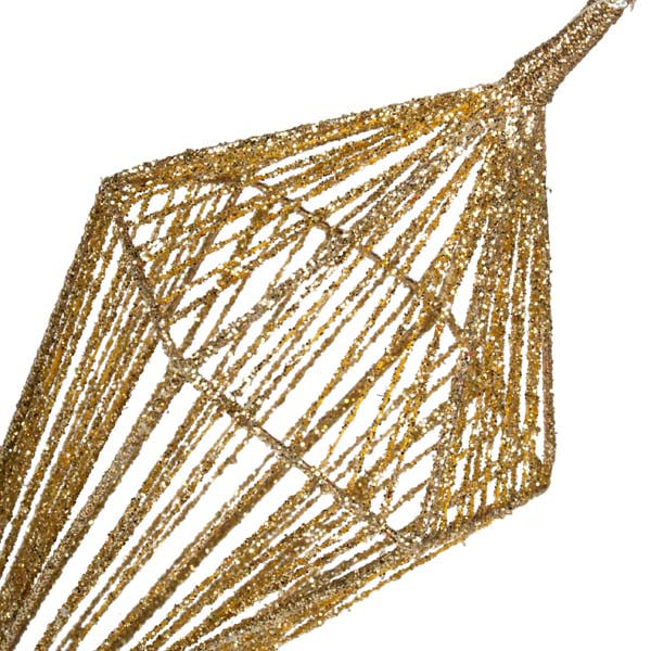 Gold Diamond Shaped Hanging Decoration - 7.5cm x 25cm