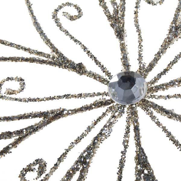 Platinum Snowflake Hanging Decoration - 30cm