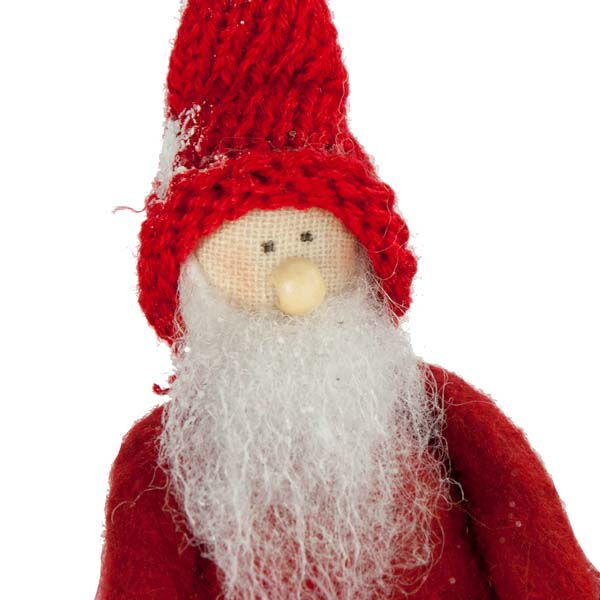 Nordic Santa Sat On A Snowball Hanging Decoration - 16cm