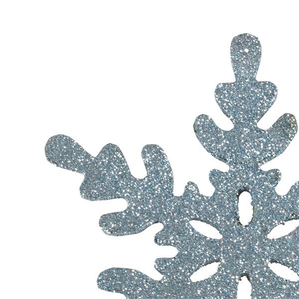 Pale Blue Wooden Snowflake Starburst Hanging Decoration - 12cm