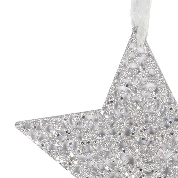 Silver Fretwork Star Shape Hanging Decoration - 20cm