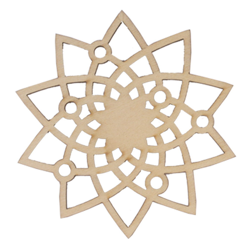 Wooden Flower Snowflake Hanging Decoration - 9cm