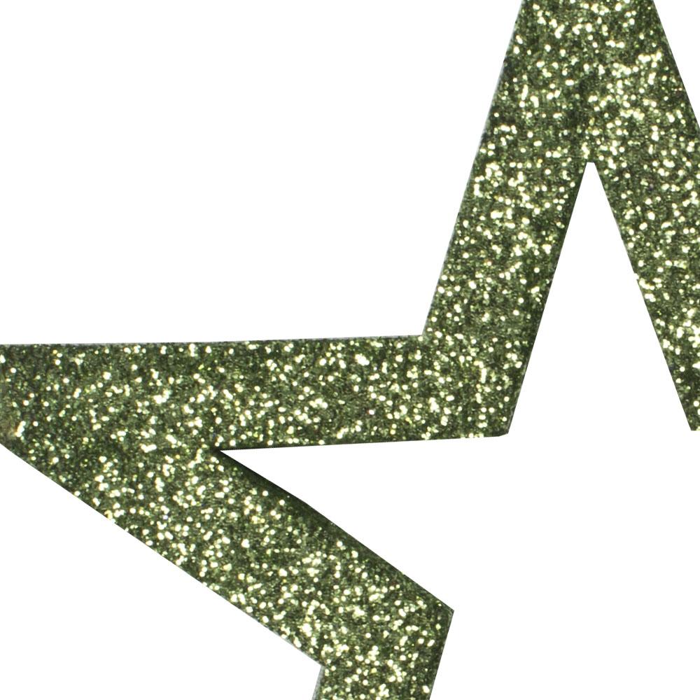 Pack Of 6 x Cedar Green Glitter Open Star Hangers - 12cm