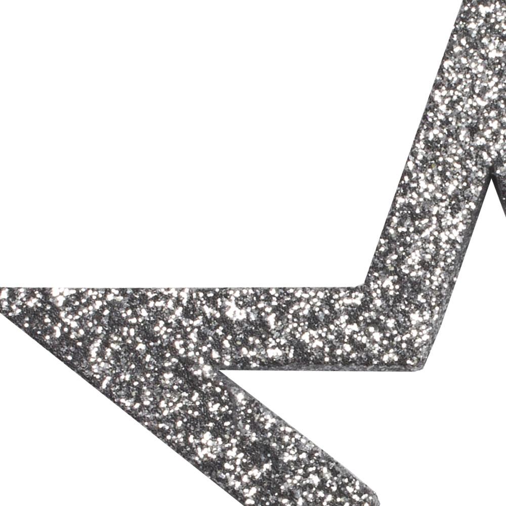 Pack Of 6 x Silver Glitter Open Star Hangers - 12cm