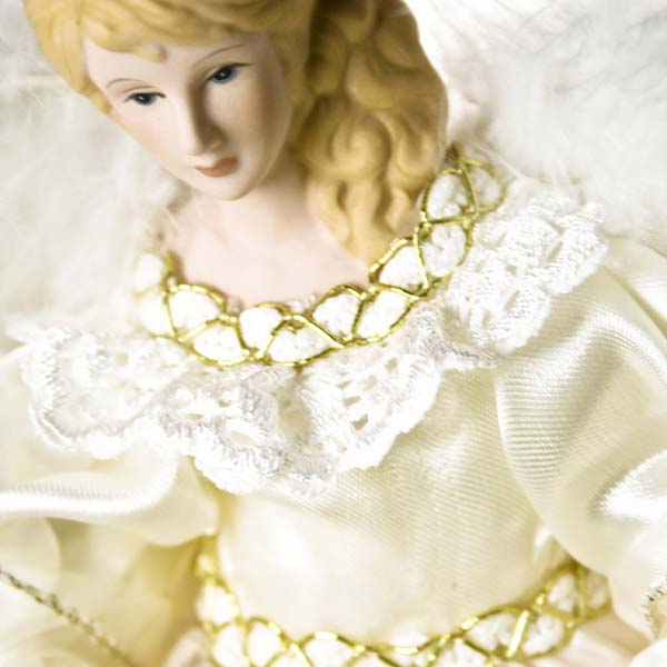Chiffon Dress Angel With Feather Wings - 30cm