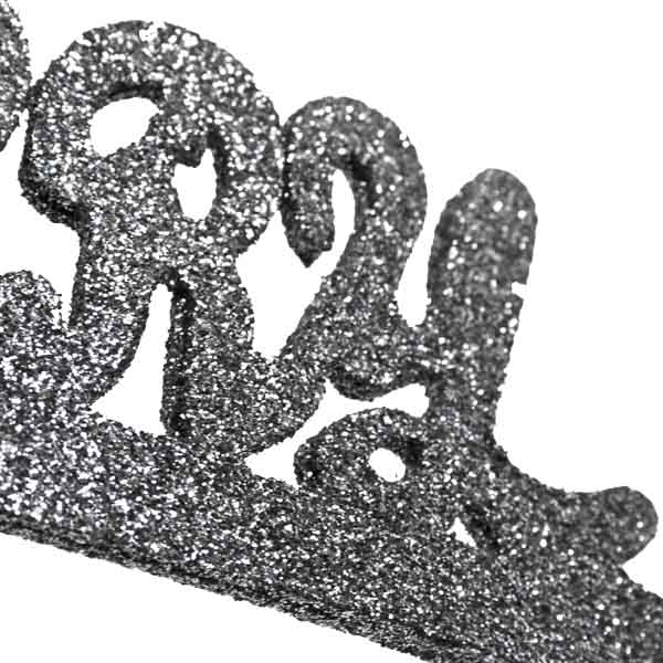 Silver Glitter Merry Christmas Ornament - 40cm