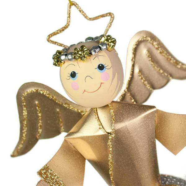 Glittered Gold/Silver Swirl Design Angel Ornament - 26cm