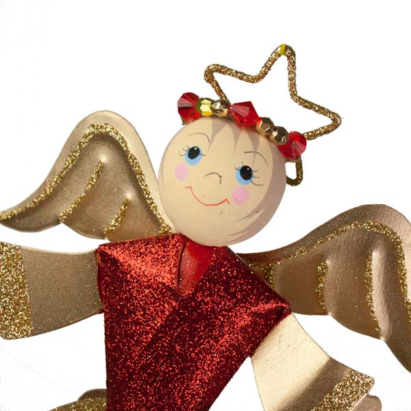 Glittered Red/Gold Swirl Design Angel Ornament - 26cm
