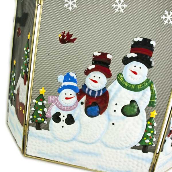 Snowmen Christmas Scene Fire Guard