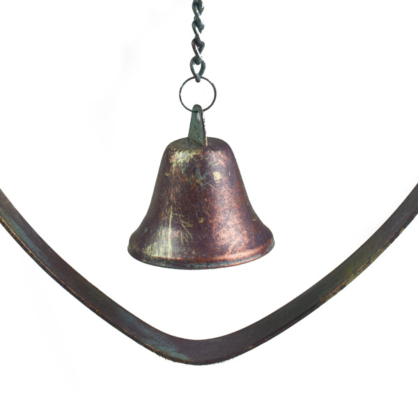 Distressed Metal Heart Hanger With Bell - 18cm