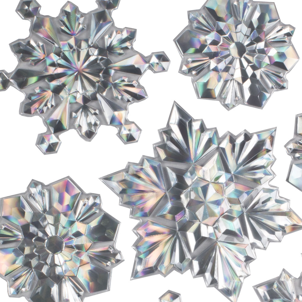 Pack Of 12 Holographic Silver Snowflake Stickers - Design 1