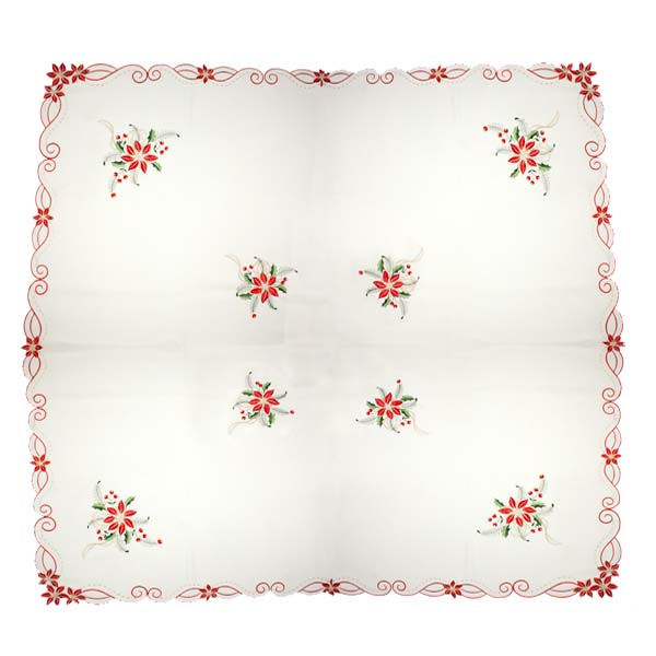 Ivory Holly & Flower Square Embroidered Tablecloth - 137cm X 137cm (54