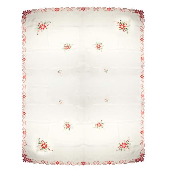 Ivory Holly & Flower Christmas Tablecloth - 137cm X 228cm (54