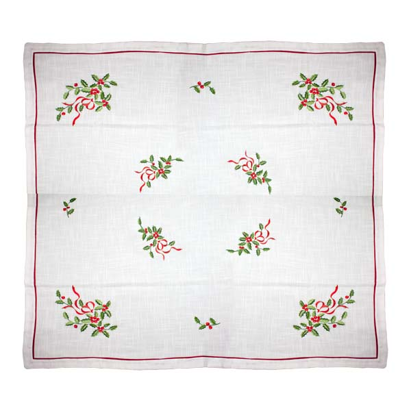 Holly Embroided Square Tablecloth - 137cm X 137cm (54