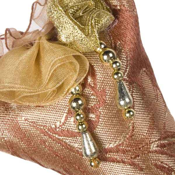 Cushioned 20cm Copper & Gold Mini Stocking Decoration