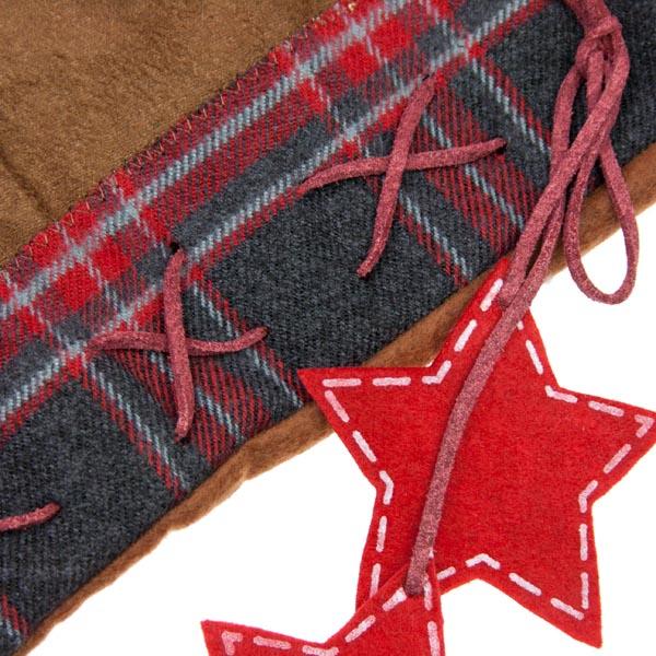 Brown & Tartan Stocking With Fur Trim (050-19473)