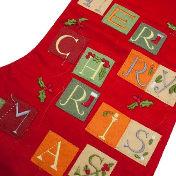 Gisela Graham Felt Merry Christmas Stocking - 40cm (050-23100)
